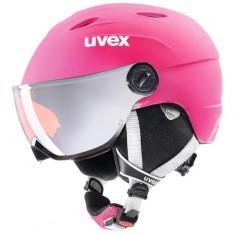 Uvex junior pro, skidhjälm med visir, Rosa